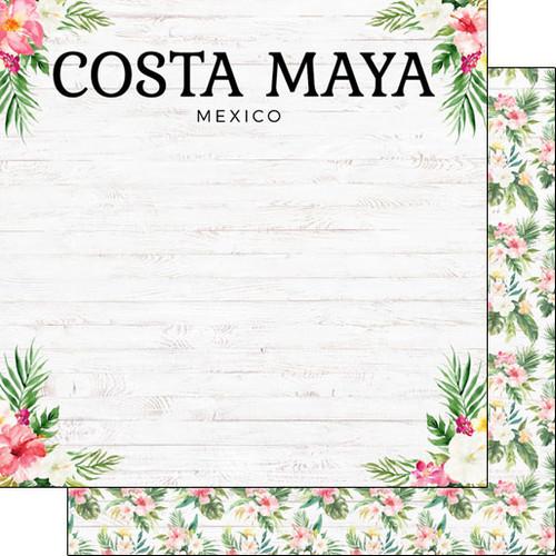 Scrapbook Customs 12x12 Travel Themed Paper: Vacay - Costa Maya