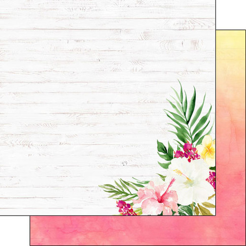 Scrapbook Customs 12x12 Travel Themed Paper: Vacay - Floral Side