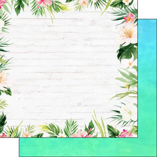Scrapbook Customs 12x12 Travel Themed Paper: Vacay - Floral Border