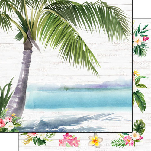 Scrapbook Customs 12x12 Travel Themed Paper: Vacay - Palm Tree & Flowers