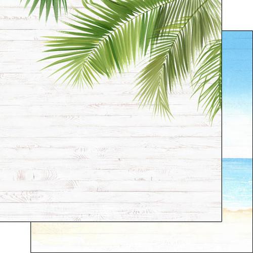 Scrapbook Customs 12x12 Travel Themed Paper: Vacay - Corner Frond & Beach Right