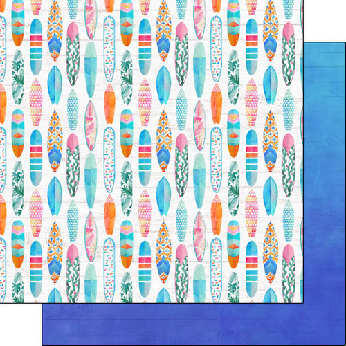 Scrapbook Customs 12x12 Travel Themed Paper: Vacay - Surf Boards