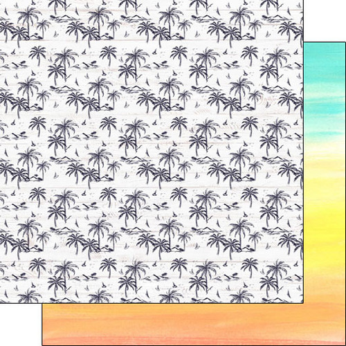 Scrapbook Customs 12x12 Travel Themed Paper: Vacay - Palm Trees & Rainbow