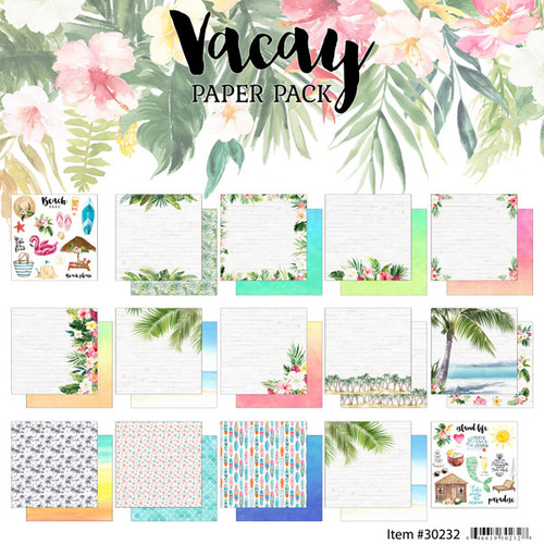 Scrapbook Customs 12x12 Travel Themed Paper Pack: Vacay