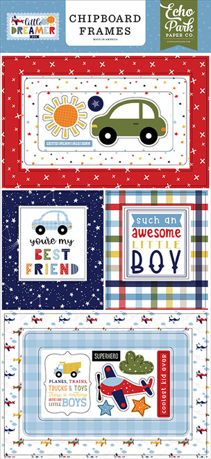 Echo Park Little Dreamer Boy 6x13 Chipboard Frames