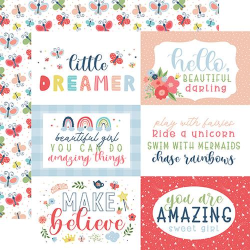 Echo Park Little Dreamer Girl 12x12 Paper: 6x4 Journaling Cards