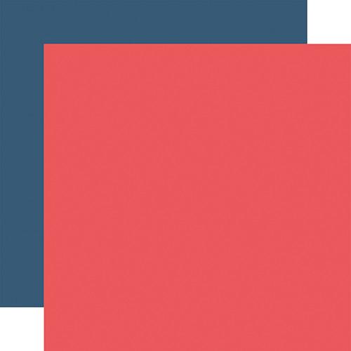 Echo Park Little Dreamer Girl 12x12 Paper: Dk. Pink / Navy (Coordinating Solid)