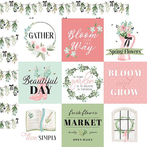 Carta Bella Flower Garden 12x12 Paper: 4x4 Journaling Cards