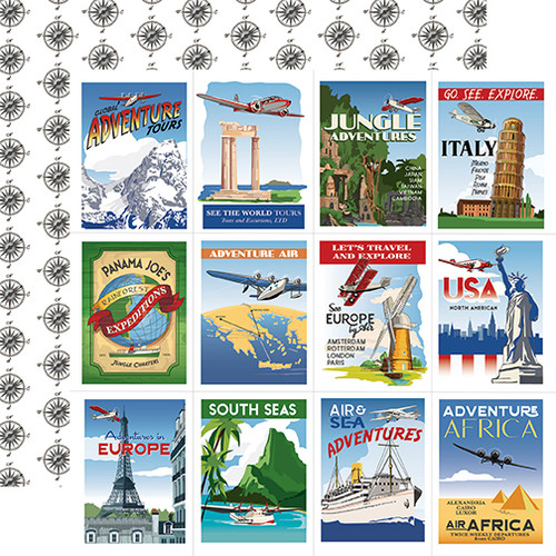 Carta Bella Our Travel Adventure 12x12 Paper: Travel Posters
