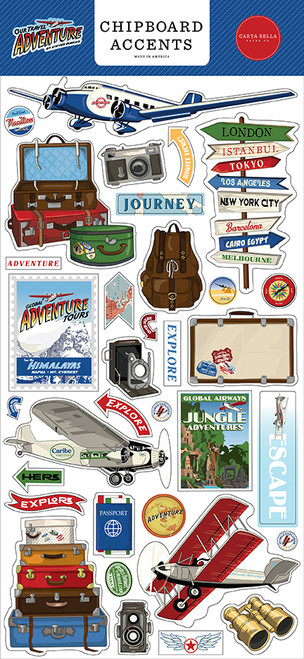 Carta Bella Our Travel Adventure 6x13 Chipboard Accents