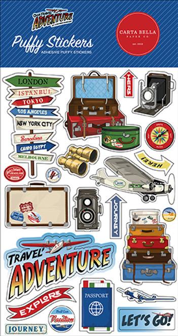Carta Bella Our Travel Adventure Puffy Stickers