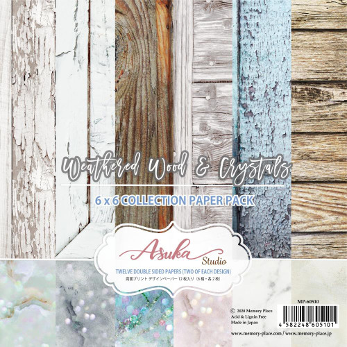 Asuka Studio 6x6 Paper Pad: Weathered Wood & Crystals