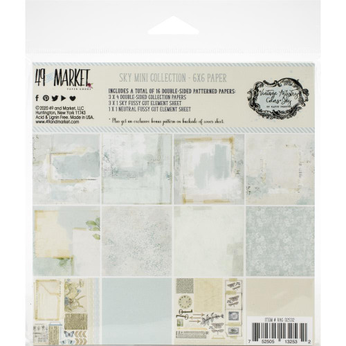 49 and Market Vintage Artistry 6x6 Paper Pad: Sky