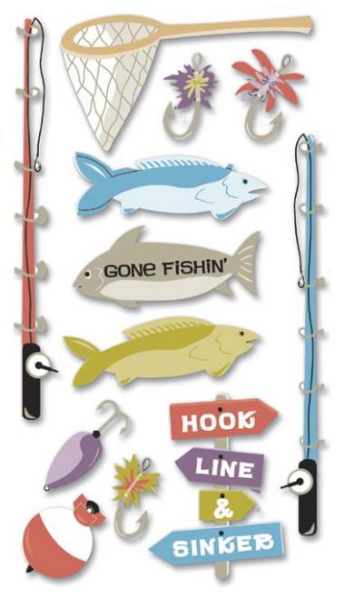 Jolee's Boutique Le Grande Dimensional Stickers: Fishing