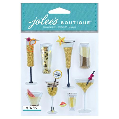 Jolee's Boutique Dimensional Stickers: Champagne Flutes & Cocktails