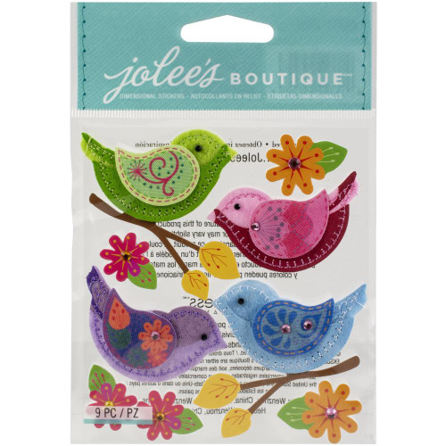 Jolee's Boutique Dimensional Stickers: Stitched Colorful Birds