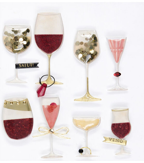 Jolee's Boutique Dimensional Stickers: Wine Glass Domes
