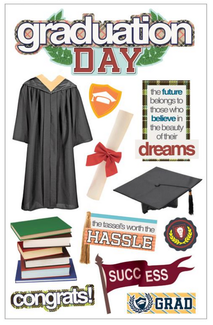 Paper House 3D Sticker: Graduation Day