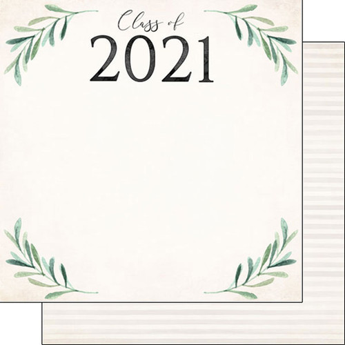Scrapbook Customs 12x12 Graduation Themed Paper: Watercolor Class of 2021