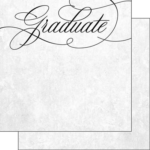 Scrapbook Customs Graduation 12x12 Paper: Fancy Cursive Graduate