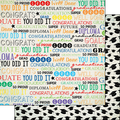 Scrapbook Customs Graduation 12x12 Paper: Colorful Graduation Words