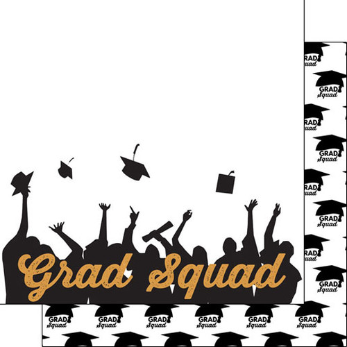 Scrapbook Customs Graduation 12x12 Paper: Grad Squad