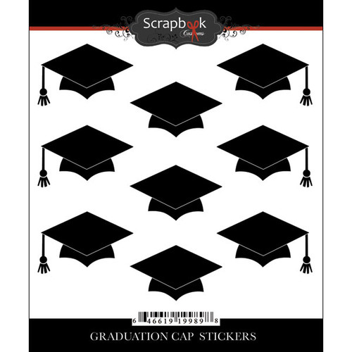 Scrapbook Customs Sticker: Graduation Caps