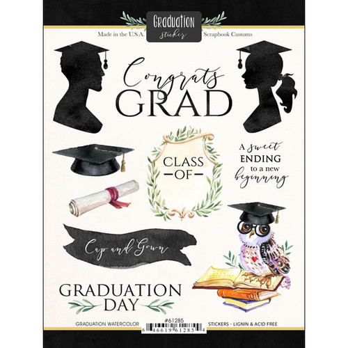 Scrapbook Customs Sticker: Graduation Watercolor