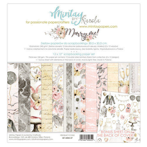 Mintay Papers Marry Me 12x12 Paper Kit