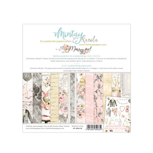 Mintay Papers Marry Me 6x6 Paper Pad