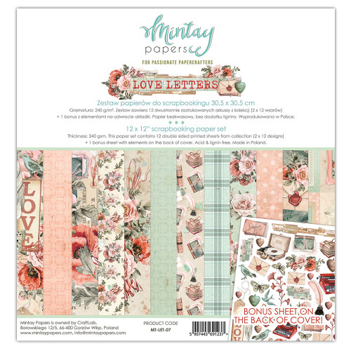 Mintay Papers Love Letters 12x12 Paper Kit