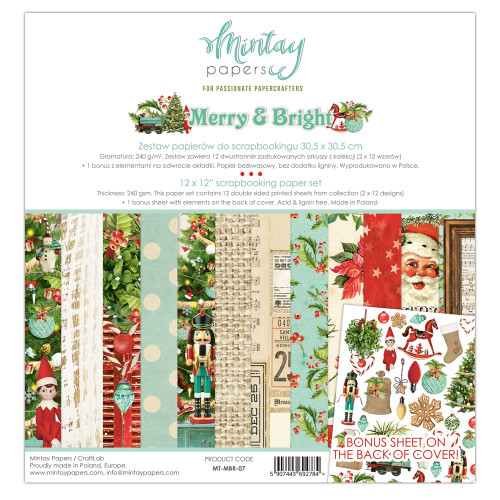 Mintay Papers Merry & Bright 12x12 Paper Kit