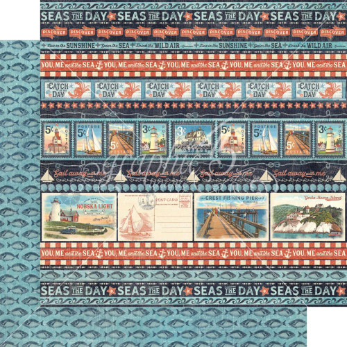 Graphic 45 Catch of the Day 12x12 Paper: Let's Go Fishing