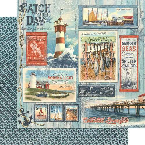Graphic 45 Catch of the Day 12x12 Paper: Catch of the Day