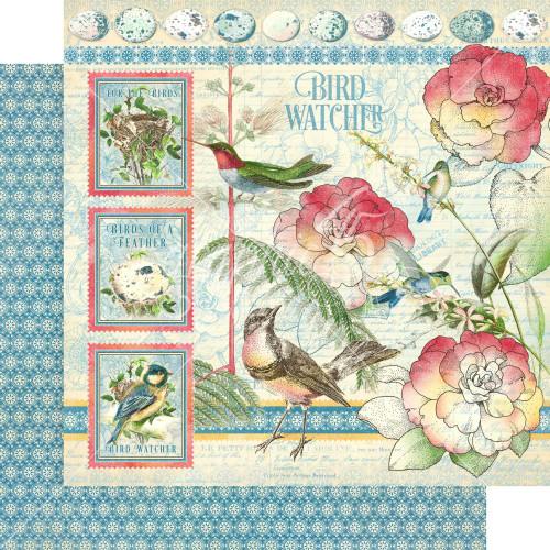Graphic 45 Bird Watcher 12x12 Paper: Bird Watcher