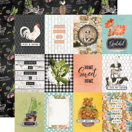 Simple Stories Simple Vintage Farmhouse Garden 12x12 Paper: 3x4 Elements