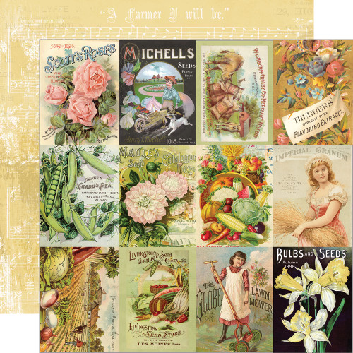 Simple Stories Simple Vintage Farmhouse Garden 12x12 Paper: 3x4 Seed Packet Elements