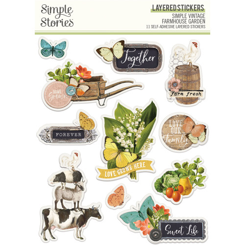 Simple Stories Simple Vintage Farmhouse Garden Layered Stickers