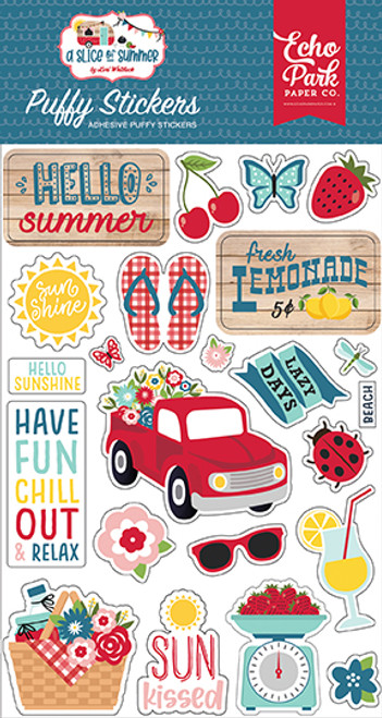 Echo Park A Slice of Summer Puffy Stickers