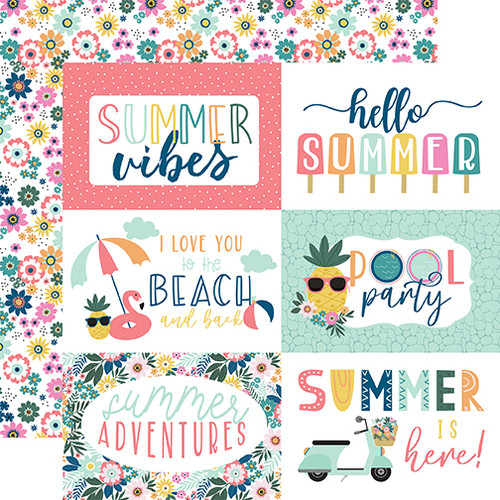 Echo Park Pool Party 12x12 Paper: 6X4 Journaling Cards