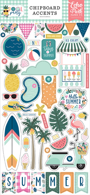 Echo Park Pool Party 6x13 Chipboard Accents