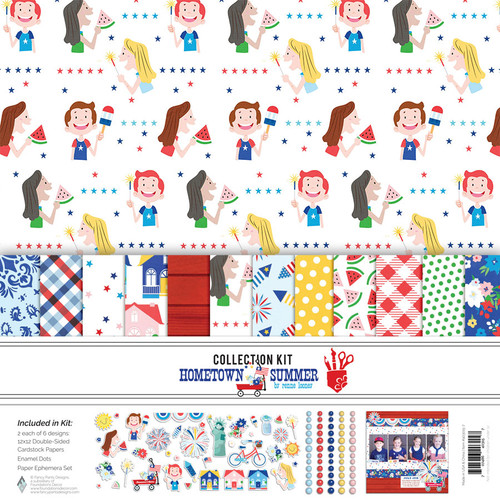 Fancy Pants Hometown Summer Collection Pack (includes 12 papers, enamel dots, paper ephemera set)