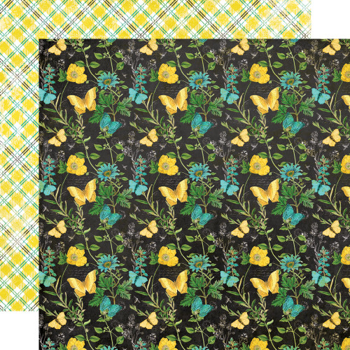 Simple Stories Simple Vintage Lemon Twist 12x12 Paper: Happy Thoughts
