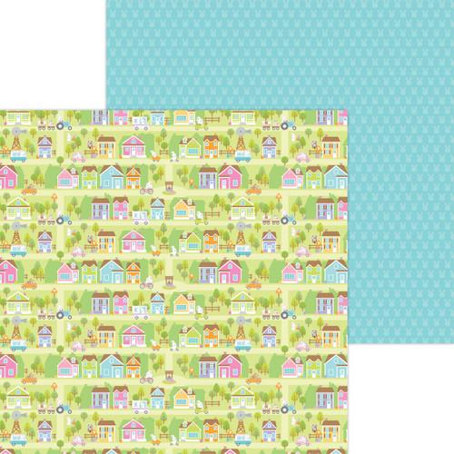 Doodlebug Hippity Hoppity 12x12 Paper: Bunny Town