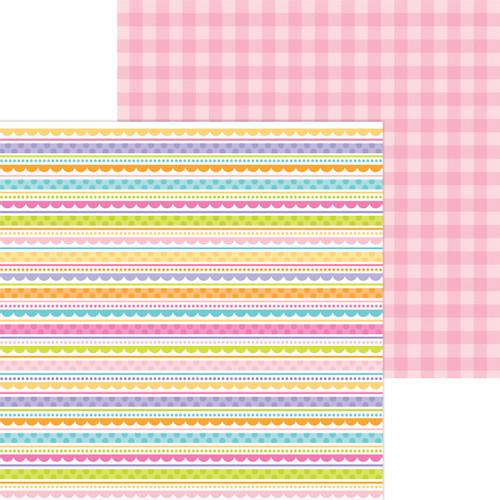 Doodlebug Hippity Hoppity 12x12 Paper: Easter Egg Stripe