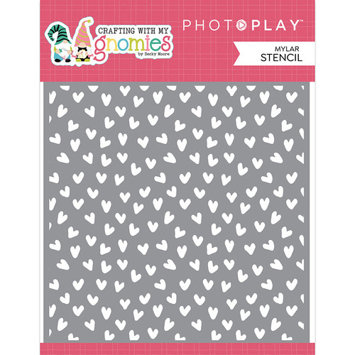 PhotoPlay Crafting with My Gnomies 6x6 Stencil: Hearts