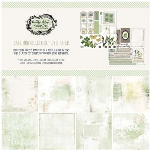 49 and Market Vintage Artistry 12x12 Collection Pack: Sage
