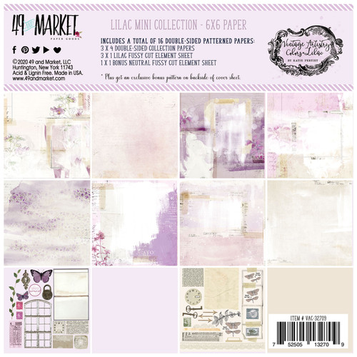 49 and Market Vintage Artistry 6x6 Paper Pad: Lilac