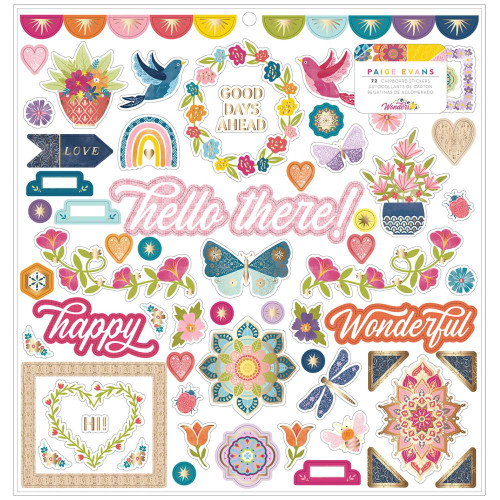 AC Paige Evans Wonders 12x12 Chipboard Stickers