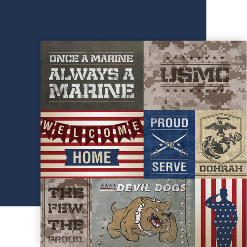 Paper House Productions 12x12 Military Paper: US Marines Tags